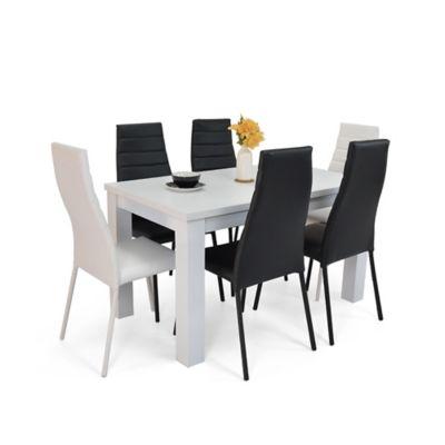 Comedor 6 Puestos Merida Blanco + Parma 4 Negro 2 Blanco