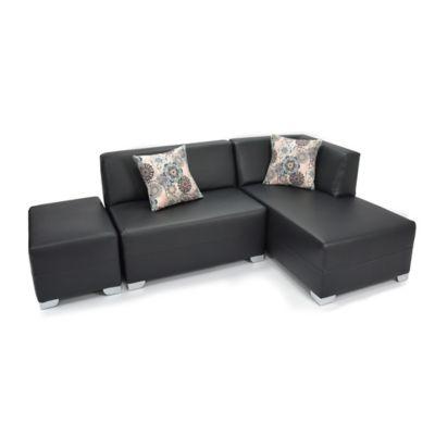 Sofá en L Venecia Cuero Sintético 225x75x80cm Negro