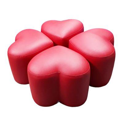 Juego de Puff Corazón para Niños 70x70x30 Rojo