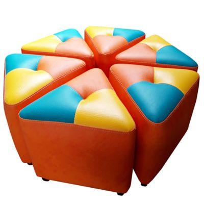Juego de Puff Atrio para Niños 80x80x30 Mandarina Multicolor