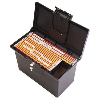 Caja Plástica para Archivo con Cerradura Negro