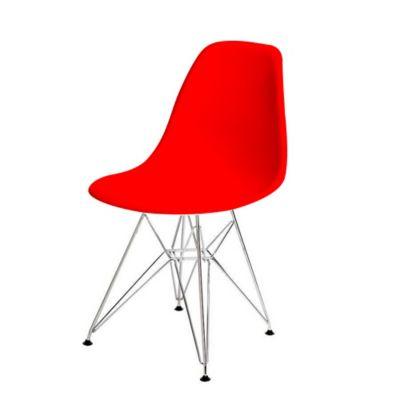 Silla Eames Moderna Patas Hierro 53x46x83 Rojo
