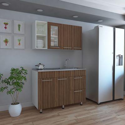 Cocina Integral Thyra 1.20 Metros 6 Puertas 1 Cajón Incluye Meson en Acero Inoxidable con Poceta Derecha Sangria