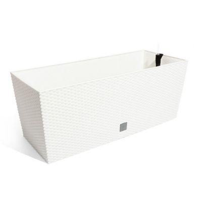 Jardinera Ratán 80 x 33 x 32 cm Blanco