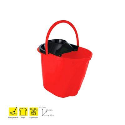 Balde Plástico 12Lt+Exprimidor x 6Und Rojo