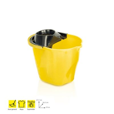 Balde Plástico 12Lt+Exprimidor x 6Und Amarillo