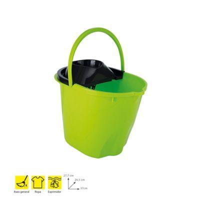 Balde Plástico 12Lt+Exprimidor Premium x 6Und Verde