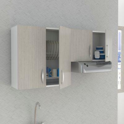 Mueble Superior Mykonos 4 Puertas Con Locero 60cm Alto x 150cm Ancho x 30cm Fondo Chantilli Blanco