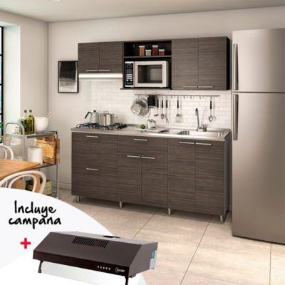 Cocina Integral Berlín 1.80 Metros Incluye Mesón Derecho Con Estufa 4 Puestos A Gas + Mueble Campana + Campana Extractora