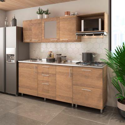 Cocina Integral Milán 2.10 Metros Incluye Mesón Izquierdo Con Estufa 4 Puestos A Gas + Campana