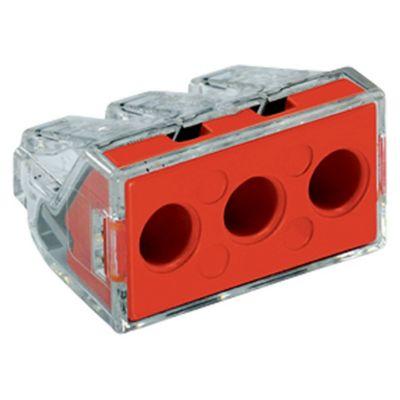 Conector Eléctrico Resorte 3 Polos Punt Test Rojox50