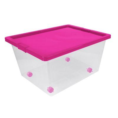 Caja Organizadora Con Ruedas 47x31x62 cm 55 Litros Natural-Fucsia