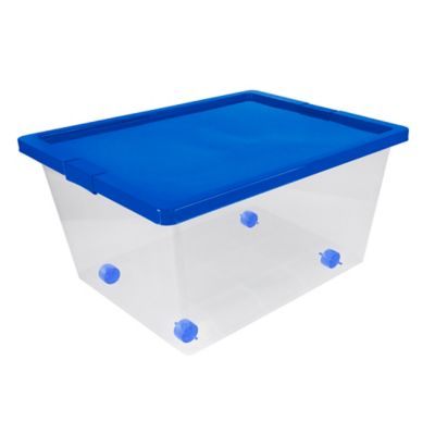 Caja Organizadora Con Ruedas 47x31x62 cm 55 Litros Natural-Azul