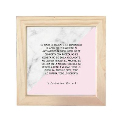 Cuadro Frase Biblí 18X18cm 1Cortintios 13:4-7