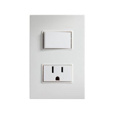 Interruptor 2 Vías+Toma de Corriente 2P+T Blanco