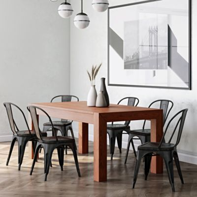 Mesa para Comedor 6 Puestos 183x91x76cm Café Coñac
