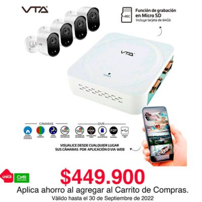 Kit DVR 4 Cámaras Full HD 1080P Grabación En Micro SD