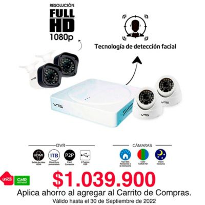 Kit DVR 4 Cámaras Full HD 1080P 1 Tera Con Canal Detección Facial
