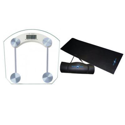 Báscula Digital Vidrio+Colchoneta Yoga 6mm Negra