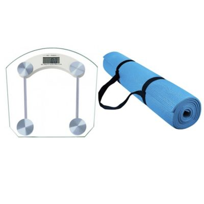 Báscula Digital Vidrio+Colchoneta Yoga 6mm Azul