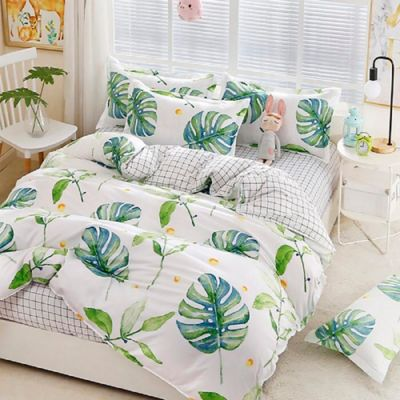 Duvet King Estampada Doble Faz Hojas + Sábana Ajustable