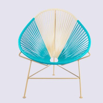 Silla Acapulco 90 x 77 cms Azul con Beige / Bronce