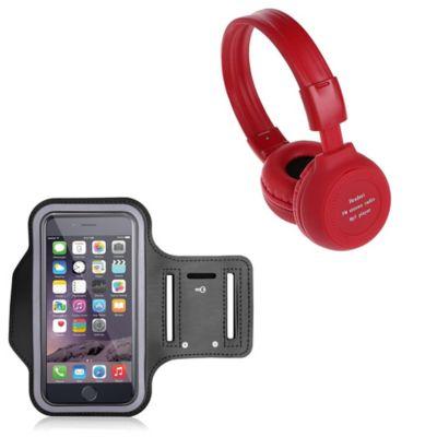 Audífonos Radio Mp3 Micro Sd-Rojo + Brazal Deportivo negro
