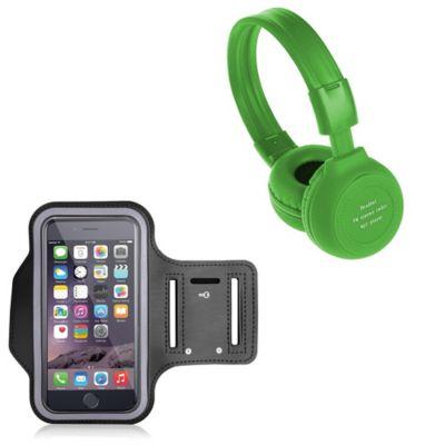 Audífonos Radio Mp3 Micro Sd-Verde + Brazalete Deportivo Negro
