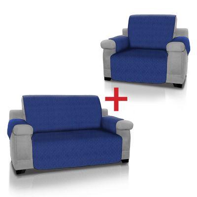 Combo Azul Protector Sofá 1Pt + 2 Cubre Sofá 2Pt