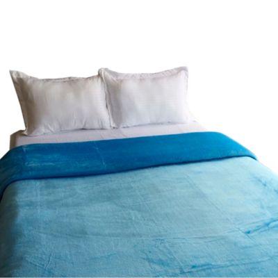 Cobija Coral Unicolor 160X220Cm Sencillo Azul