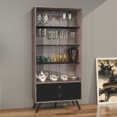 Mueble para Bar Retro 2 Cajones 80x173 Rustico/Negro