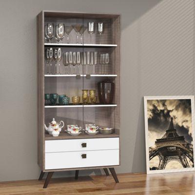 Mueble para Bar Retro 2 Cajones 80x173 Rustico/Blanco