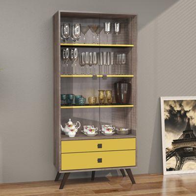 Mueble para Bar Retro 2 Cajones Rustico/Amarillo