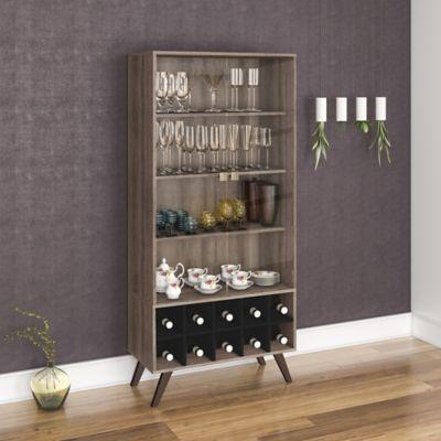Mueble para Bar Retro 80x173 Rústico/Negro
