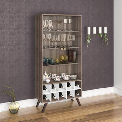 Mueble para Bar Retro 80x173 Rústico/Blanco