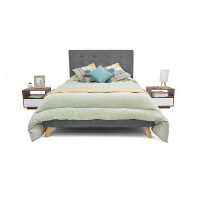 Set de Dormitorio Doble Verona + 2 Mesas de Noche Gris