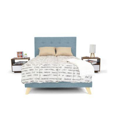 Set de Dormitorio Queen 160x190 Verona + 2 Mesas de Noche Marino
