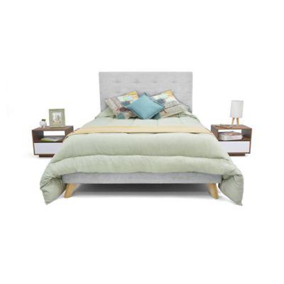 Set de Dormitorio Queen Verona + 2 Mesas de Noche Plata