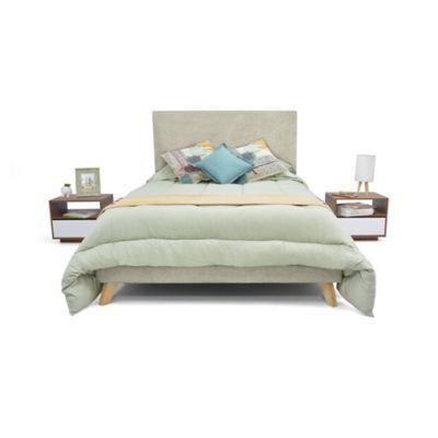 Set de Dormitorio Doble Verona + 2 Mesas de Noche Taupe Tela