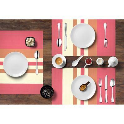 Setx6 Individual PVC Raya Fucsia Blanco 30x45cm