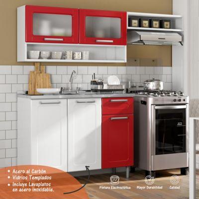 Cocina Multipla 1.75 Metros con Lavaplatos Blanco - Rojo