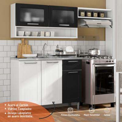 Cocina Multipla 1.75 Metros con Lavaplatos Blanco - Negro