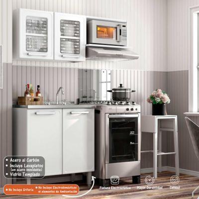 Cocina Integral Gourmet 1.40 Metros Con Lavaplatos Blanco