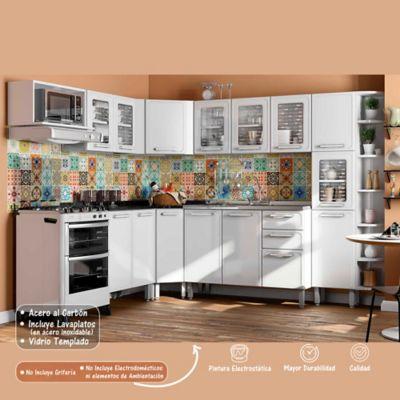 Cocina Integral Gourmet 2.28 x 2.54 Metros 9 Muebles Blanco