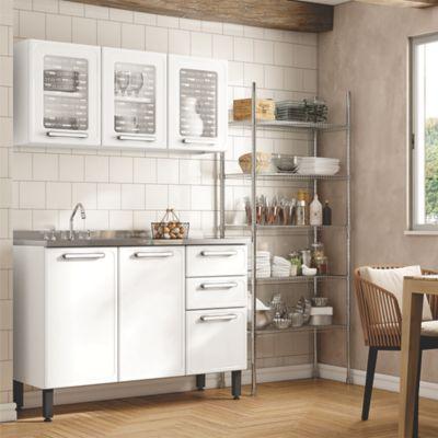 Cocina Integral Gourmet 1.20 Metros Con Lavaplatos Blanco
