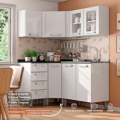 Cocina Integral Gourmet 1.48 x 1.08 Metros 6 Muebles Blanco