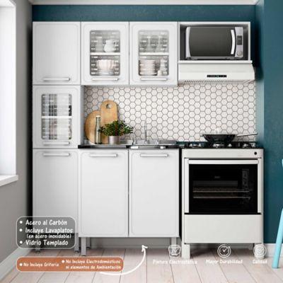 Cocina Integral Gourmet 1.80 Metros Con Lavaplatos Blanco