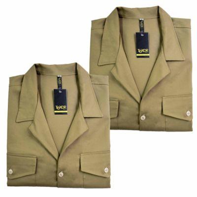 Set x2 Camisas para Hombre Dril Manga Larga L Caqui