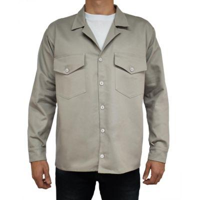 Camisa para Hombre Dril Manga Larga L Gris