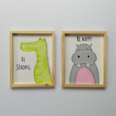 Set x 2 Cuadros Hipopótamo y Cocodrilo 20x25 cm